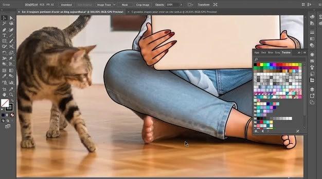 Dessin femme avec son chat et son ordinateur