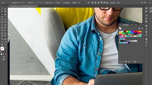 Dessin homme assis avec son ordinateur portable (2)