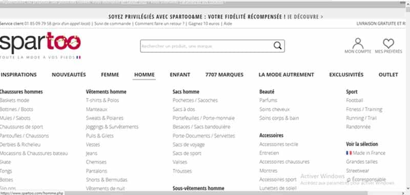 Spartoo page acceuil