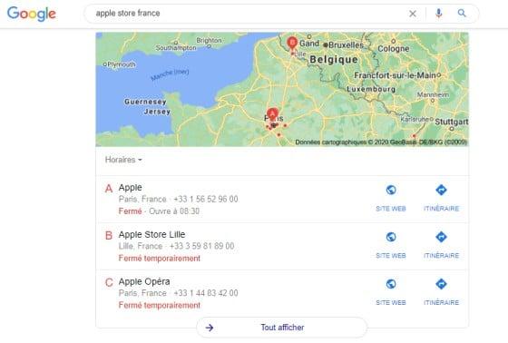 Resultat de recherche apple store france google