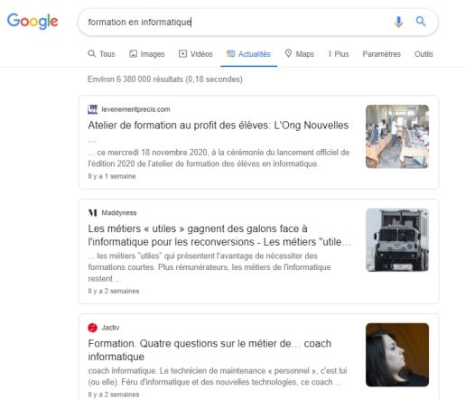 Resultat recherche formation en informatique google