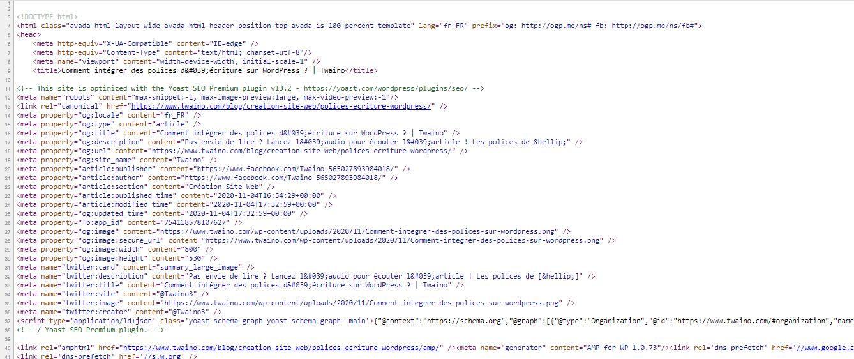 Etape afficher les balise meta d une page web