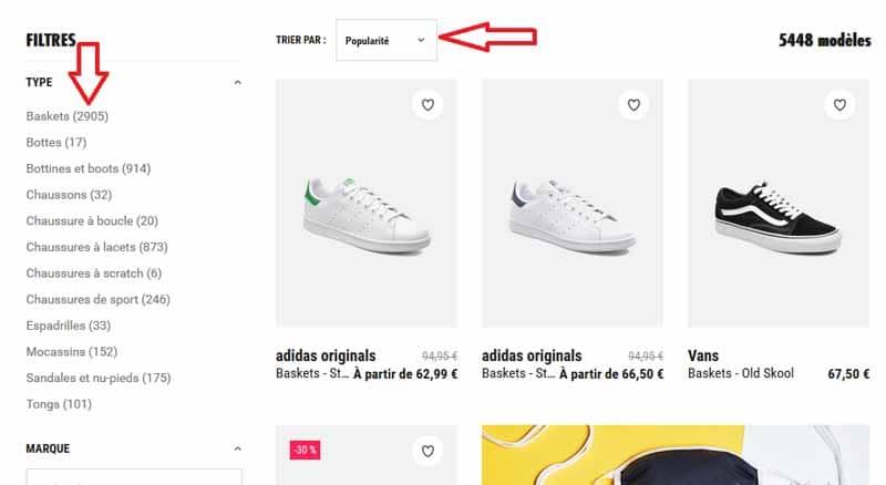Filtre site e commerce