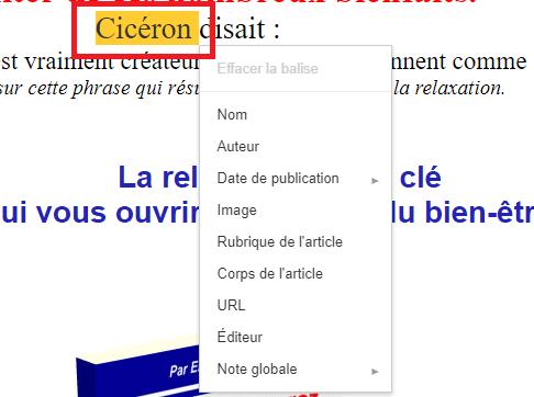 Ciceron en surbrillance