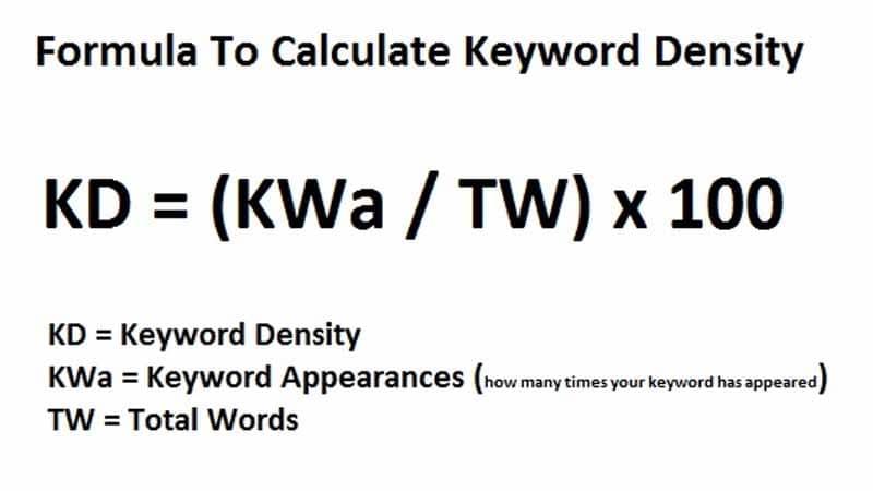 Formule de calcul de la densite de keyword