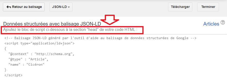 Ajout bloc script section head code html