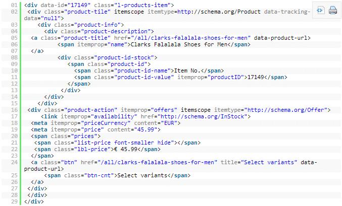 Donnees structurees dans le code source d une page