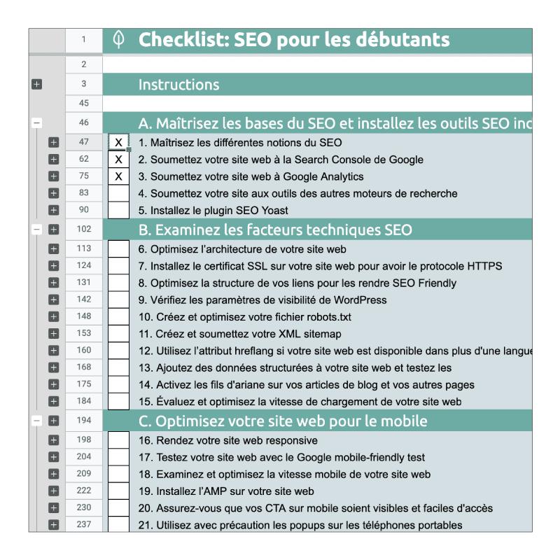 Checklist des activités à mener en SEO pour débutants