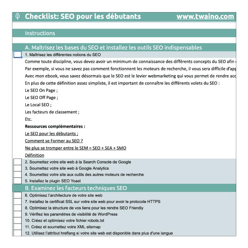 Liste pour les débutants - Détails des activités SEO