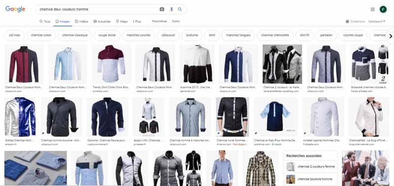 images chemise deux couleur hommes