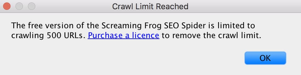 Crawl Limit Reached