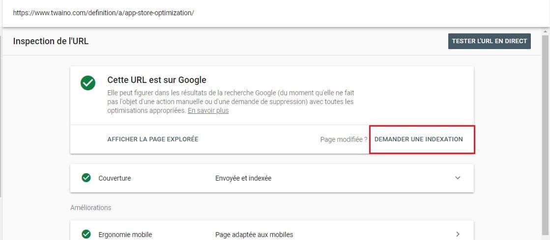 Google Search Console Demande Indexation