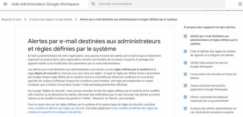 alerte par e mail destine aux administrateurs et regles definies par le systeme