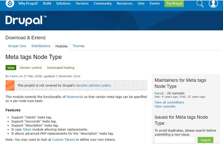 Drupal Meta Tags Node Type