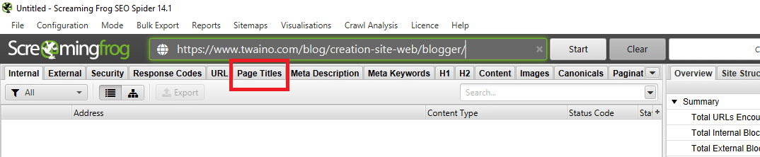 Screamingfrog Page Titles