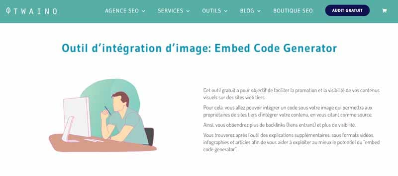 Outil d integration d image embed code generator