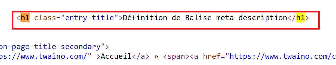 class entry title Definition de balise meta description