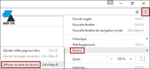 Afficher la barre de favoris dans Google Chrome