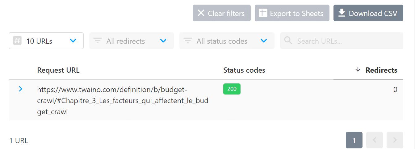 Verification statut de page HTTPStatus.io