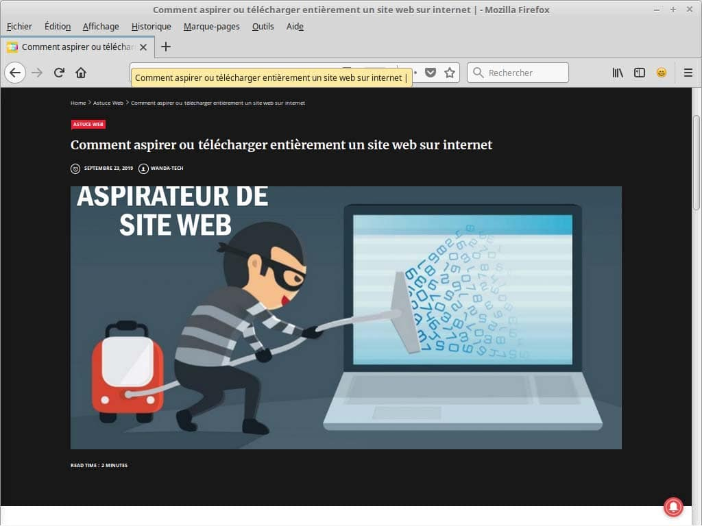 Comment aspirer ou telecharger entierement un site web sur internet