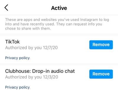 Retirer Clubhouse de votre compte Instagram