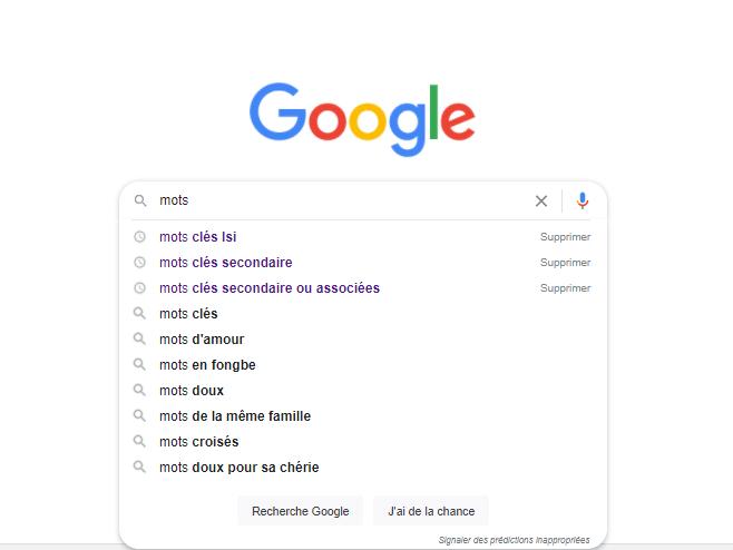 Recherche google mots