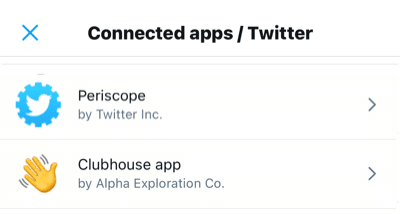 Connected apps Twitter