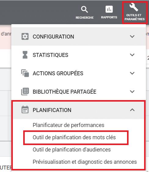 Outil de plannification des mots cles