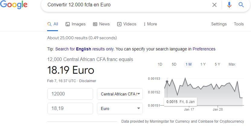 Convertir 12 000 Fcfa en Euro