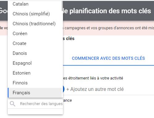 Selection langage