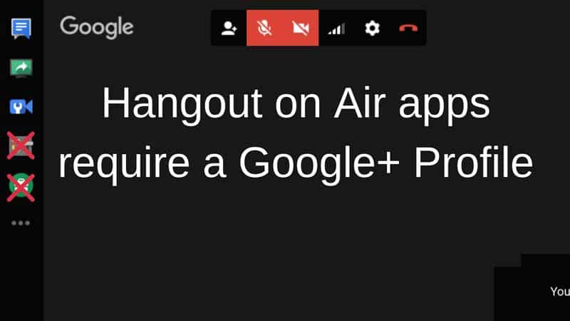 Hangout on Air apps require a Google plus Profile