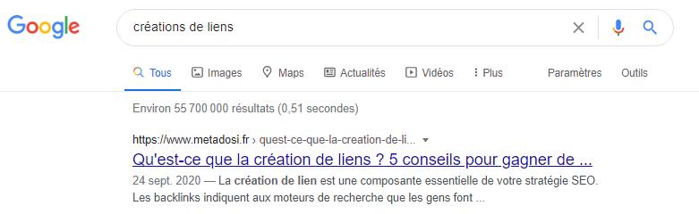 Recherche Google creations de liens
