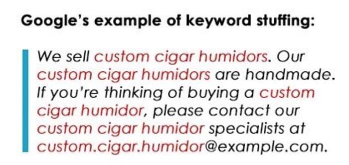 Exemple Google de l utilisation abusive de mots cles