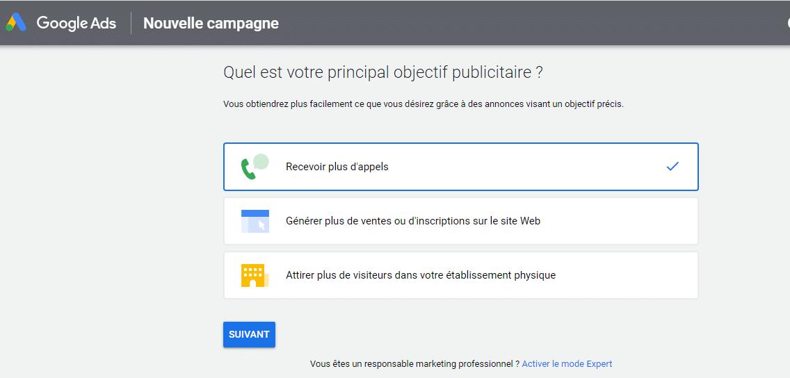 Google Ads Nouvelle campagne