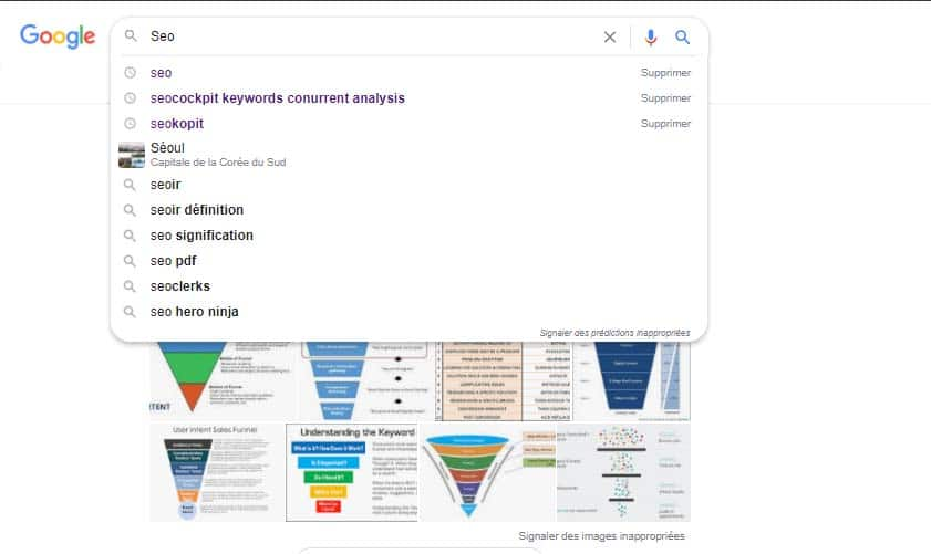Recherche Google seo