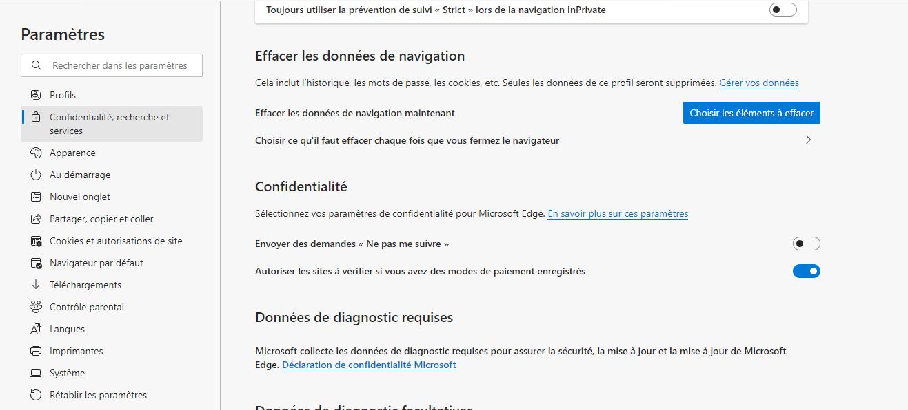 Confidentialite recherche et services Microsoft edge