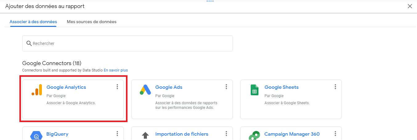 Clic sur le connecteur Google Analytics