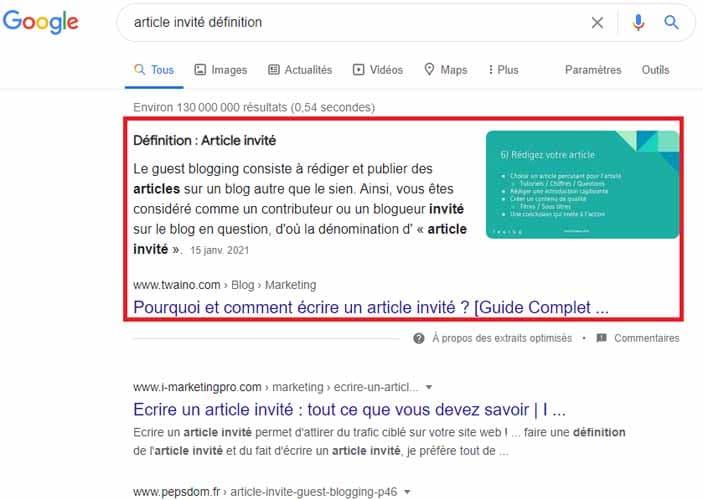 Article invite definition