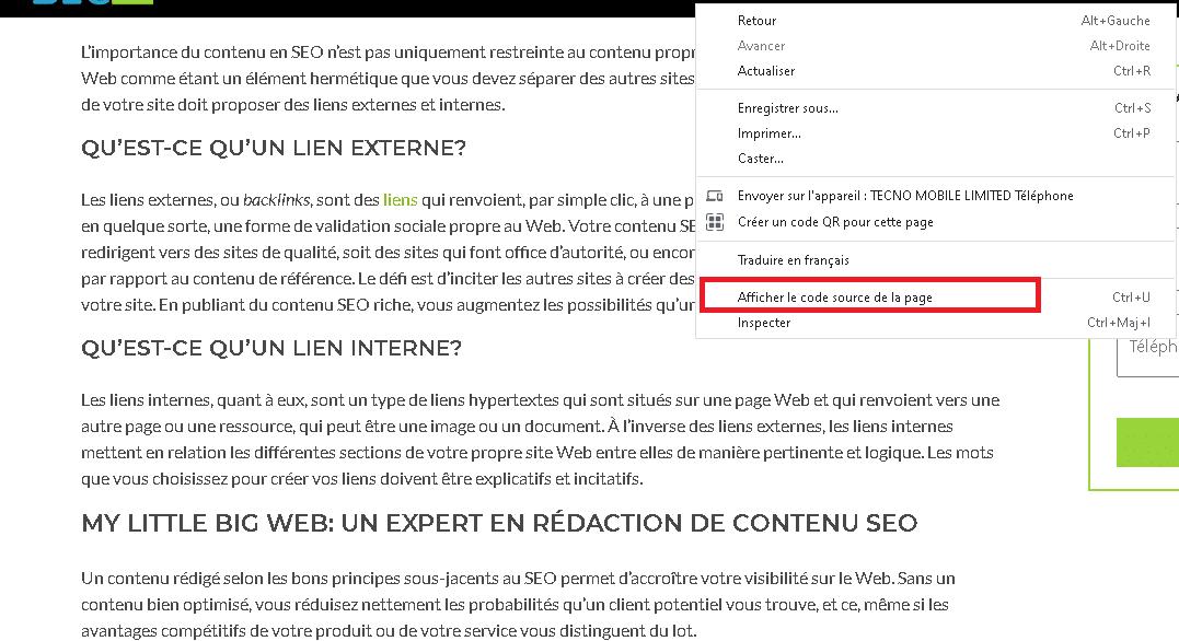 Verification de liens nofollow sur un site