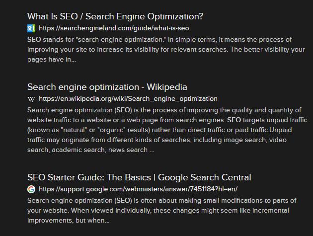 Resultats de recherche affiche avec le favicon de chaque site