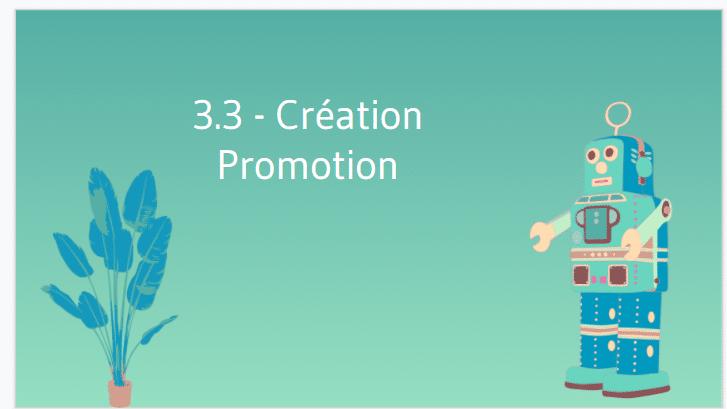 Creation de promotion
