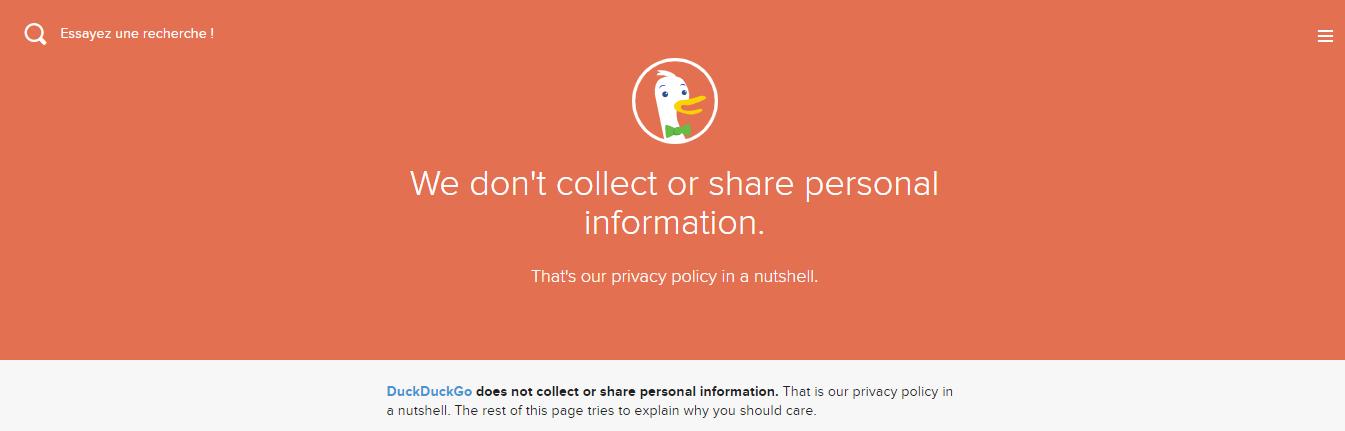 Nous ne collectons ni ne partageons d information personnelle