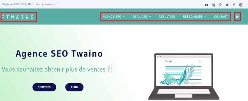 Menu site Twaino