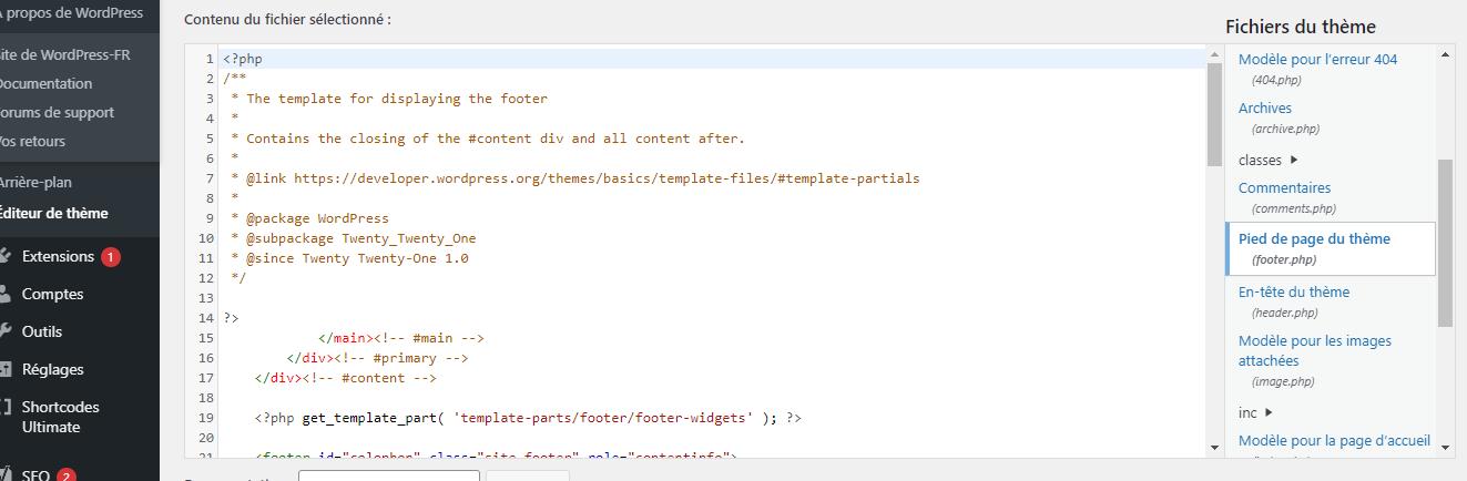 Ajout du shortcode dans pieds de page