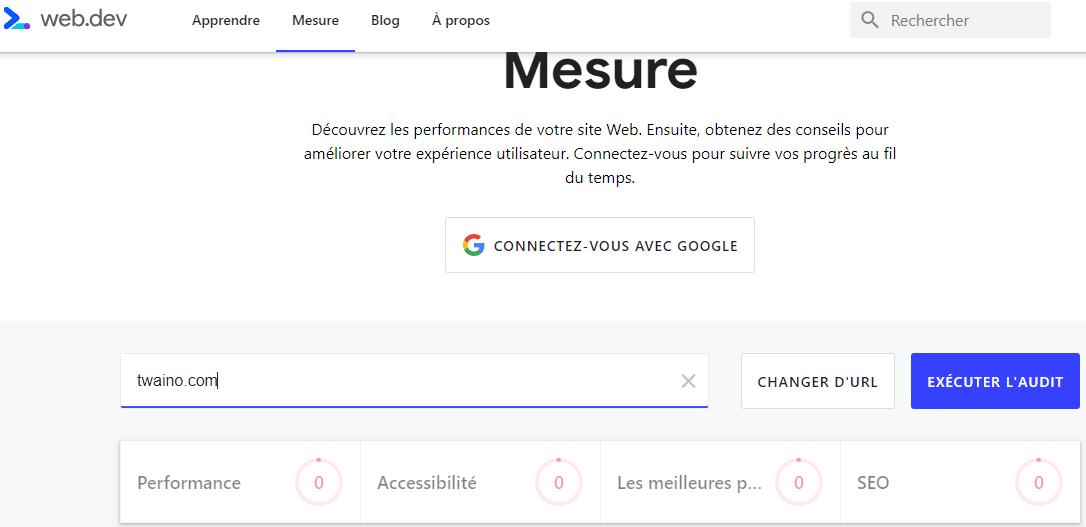 Lighthouse sur Web dev