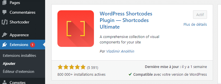 Plugin Shortcode ultimate