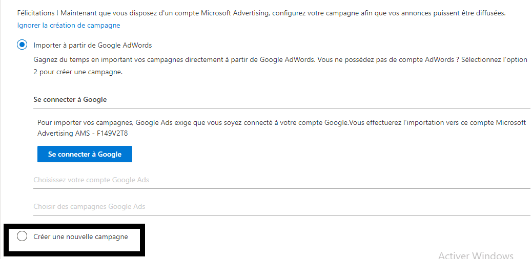 Importer depuis Google AdWords