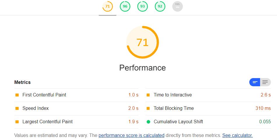 Performance du site