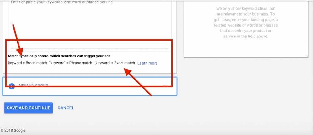 Les types de correspondance permettent de controler les recherches qui peuvent déclencher vos annonces.