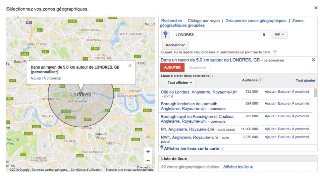 Selectionnez vos zones geographiques